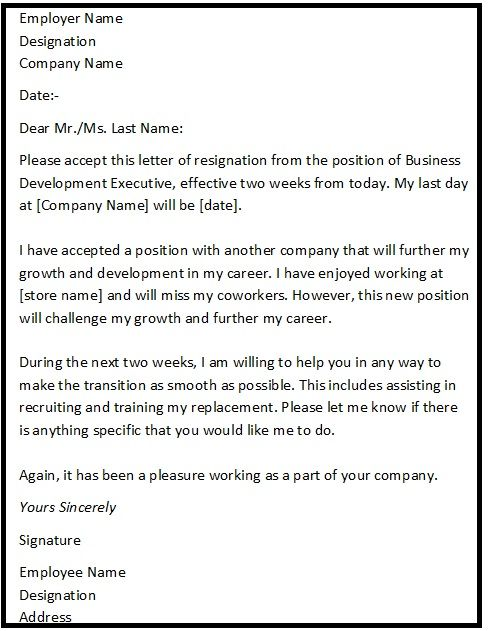 "Resignation Letter Format with reason describing the reason of resignation as ""Reason For Further Growth Prospects"""