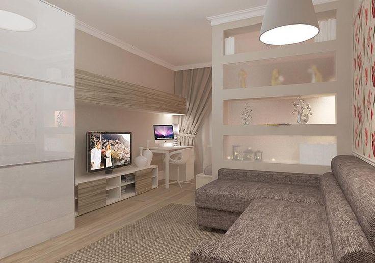 дизайн гостиной совмещенной со спальней фото работы