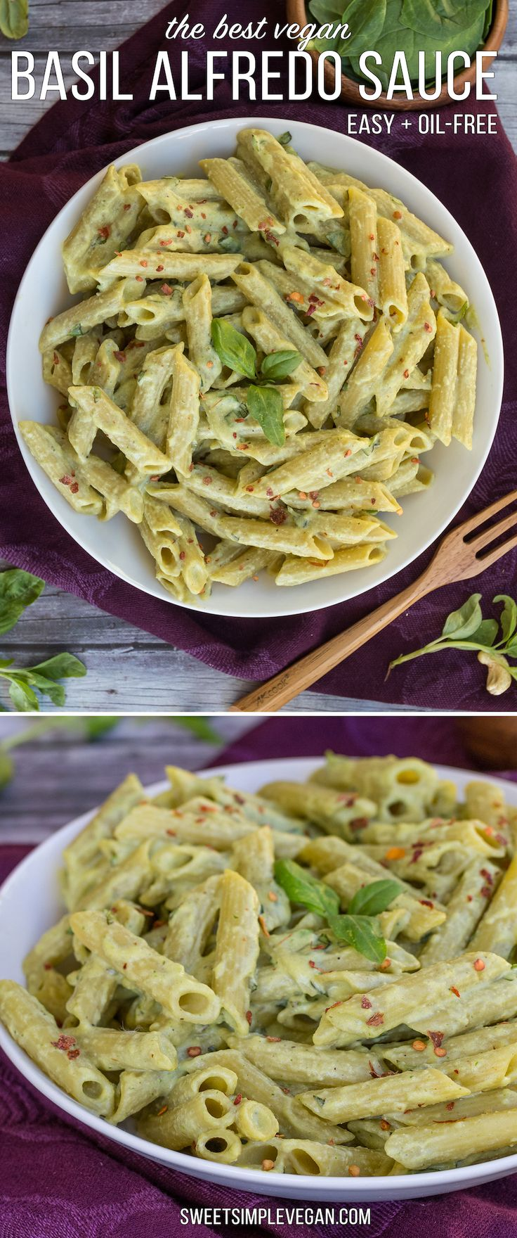 The Best Creamy Basil Alfredo Sauce {Oil- & Gluten-Free} + St. Patrick's Day Recipe Round Up! -- Dare I say best? After one bite, you will know exactly why. #vegan #alfredo #sweetsimplevegan #glutenfree