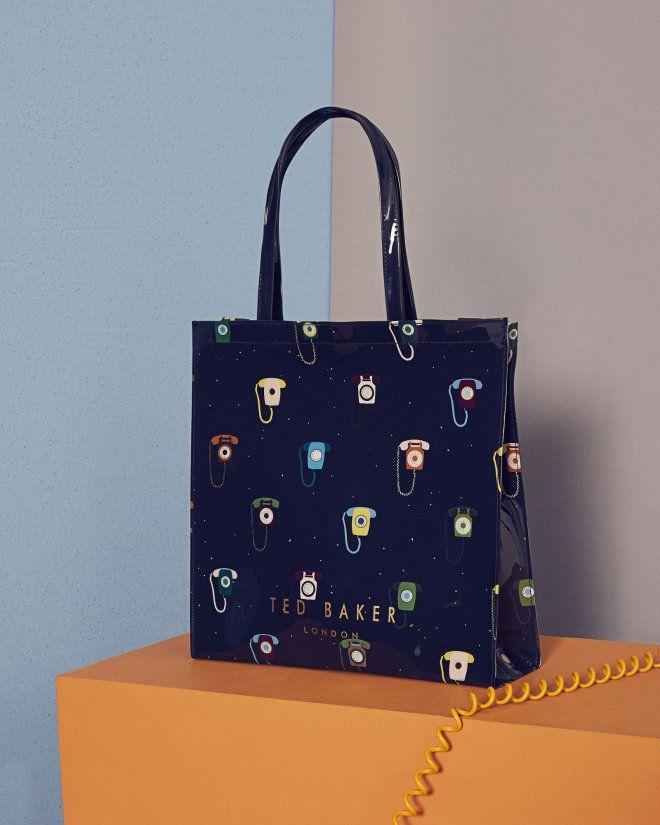 Ted Baker | DANCON - Telephone print large icon shopper bag - Dark Blue PVC | Bags | Ted Baker