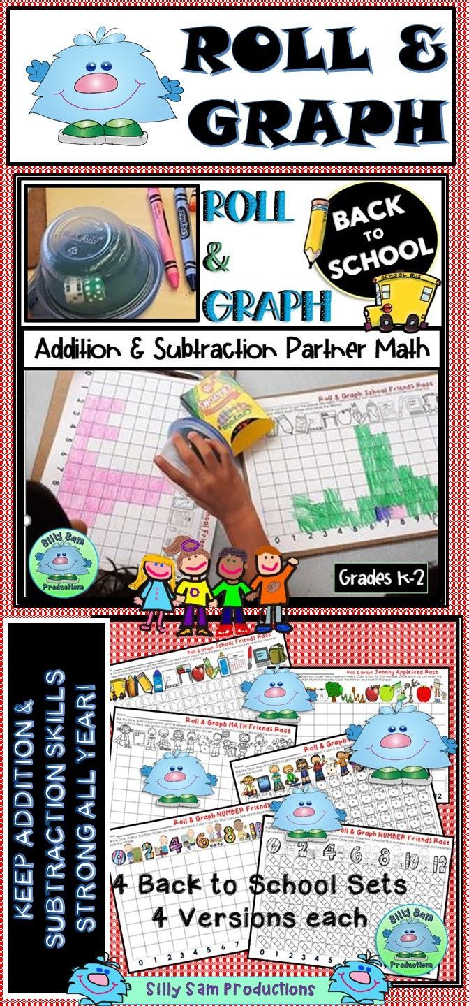 Roll And Graph Back To School Centers Games Partner Activities For First Grade Math
