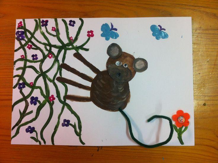 Monkey craft activities.  Handprint crafts.  Monkey Puzzle storytime craft