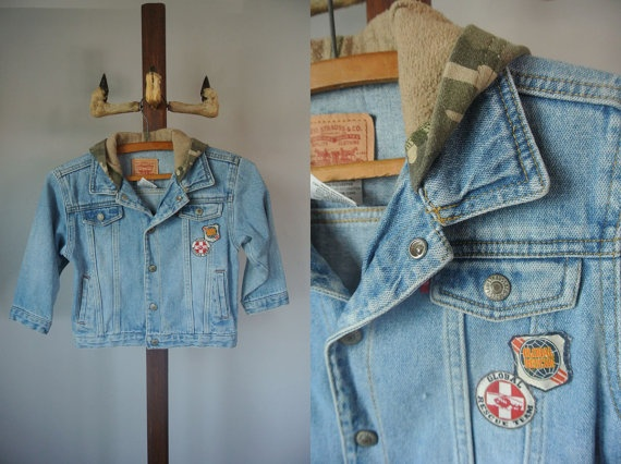 Vintage LEVI's 4T Hooded Jean Jacket by cakeshopvintage on Etsy, $20.00