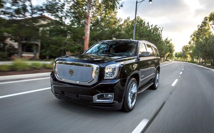 Download wallpapers GMC Denali, 2018, 4k, luxury black SUV, American cars, new Denali, GMC