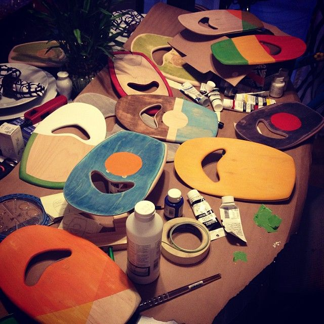 Upcycled bodysurfing hand planes made from sk8 decks. Painting in progress. 100% Handcrafted in San Clemente, CA.