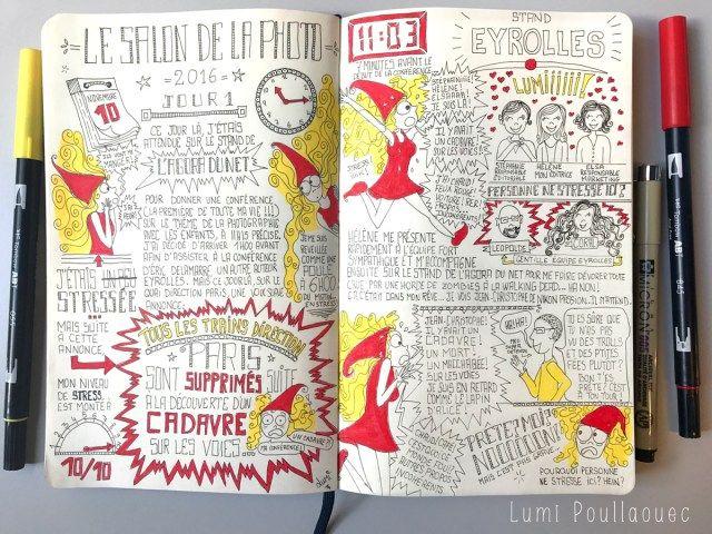 Salon de la Photo : Episode 1 de mon Journal Presque Intime #Sketchnote #BulletJounal #Idea #Journal #Journaling #JournalIntime #Intime #SalonDeLaPhoto #Moleskine #Ink #Draw #Dessin #Illustration