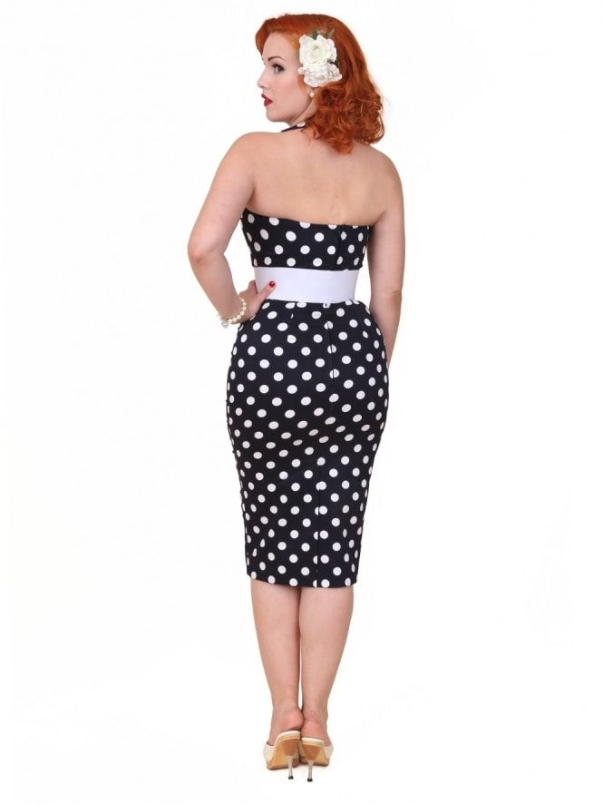 2ff79d0acb51 50s-1950s-Vivien-of-Holloway-Best-Vintage-Reproduction-Halterneck -Pencil-Wiggle-Dress-Black-White-Polkadot-Rockabilly-Pinup