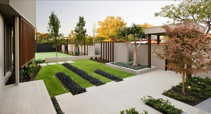 Contemporary garden in front yard with concrete steps as for Modern landscape design front yard
