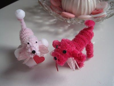 chenille stem/pipe cleaner poodles