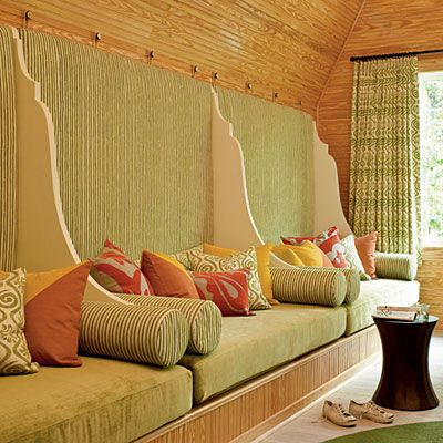 The Sleeping Porch  What We Love    Plush Daybeds: Three twin-size mattresses fit along a wall, with padded fabric-covered panels for added comfort.