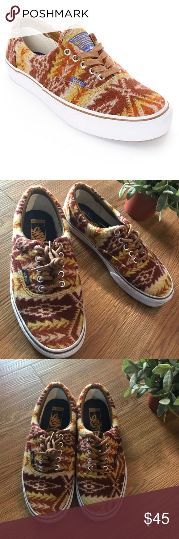 Pendleton Vans Tribal Print Shoe The Vans Era Athletic feature a Canvas upper with a Round Toe. The Man-Made outsole lends lasting traction and wear. Color: (pendleton) Tribal/tan. Gender nuteral size 7.5 mens Size 9 womens Great pre loved condition Pendleton Shoes Sneakers
