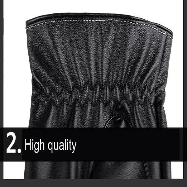 Men PU Leather Thick Warm Gloves Outdoor Casual Driving Windproof Touch Screen Mittens at Banggood