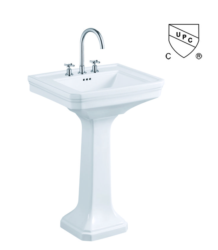 "cUPC approved American Standard Pedestal basins China Supplier 8"", 4"" spread or single hole"