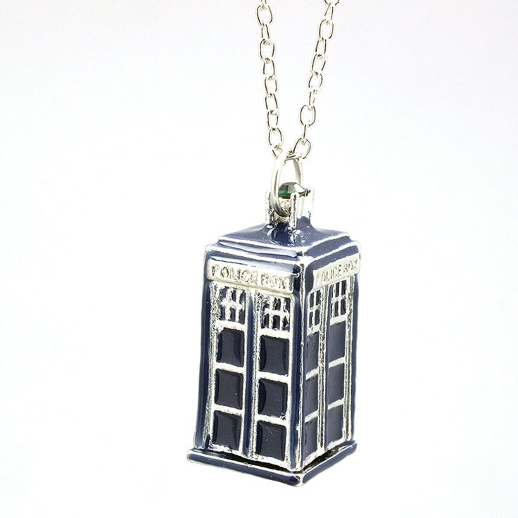 Movie Jewelry Blue TARDIS Necklace Doctor Who necklace Silver Long Chain Fashion Jewelry Brand Enamel House Pendant Necklace