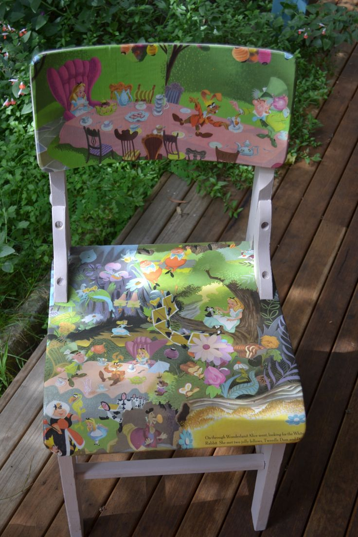 I used an old Alice in Wonderland book to decorate this sweet little chair