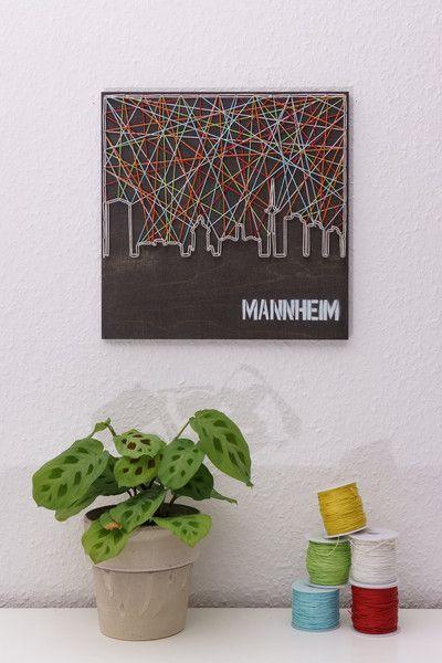 Deko-Objekte - Fadenbild der Skyline der Stadt Mannheim - ein Designerstück von schnuerstueck bei DaWanda