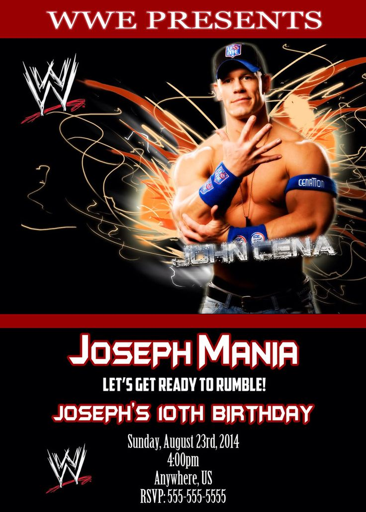 the 61 best images about wwe party on pinterest | legends, Birthday invitations
