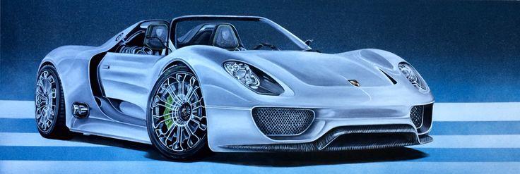 918 Spyder... Porsche  Oil on canvas