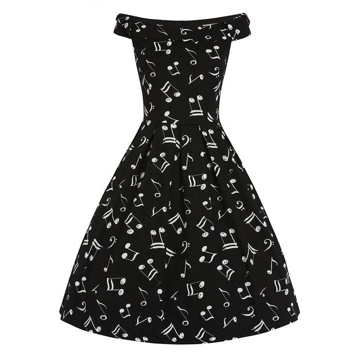 Christie Music Off Shoulder Swing Dress | Vintage Dresses - Lindy Bop