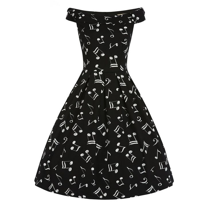 'Christie' Music Print Off Shoulder Swing Dress  Bought this one. LC
