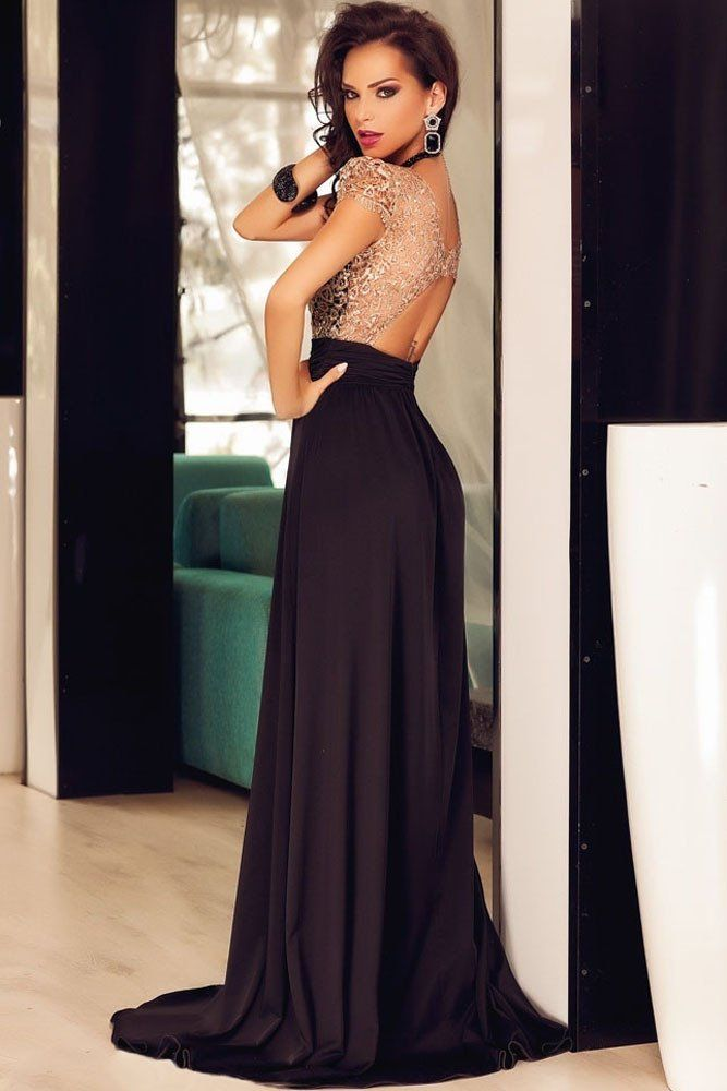 Dressed to Kill Gold Lace Overlay Gown