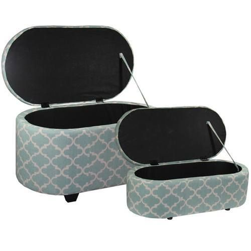 Providing the perfect touch anywhere in the home, this set of storage ottomans…