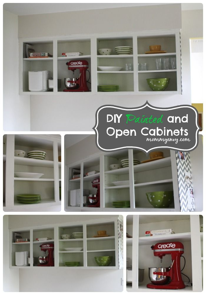 DIY Painted and Open Cabinets Kitchen Cabinets. Brighten up your kitchen by painting your kitchen cabinets!
