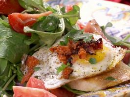 Bobby Flay's rocket salad with fried eggs, lemon-blueberry pancakes and spiked coffee. (sounds interesting)