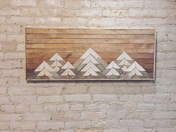 Recuperado arte de pared de madera, decoración de la pared o cabecera doble, listón, geométrica, montañas, gradiente