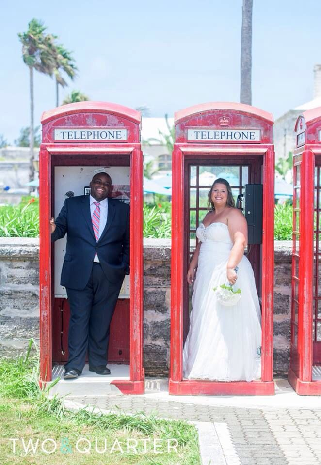 Phone Booth Wedding photography at The Dockyards in Bermuda! Thanks @twoandquarter Photography