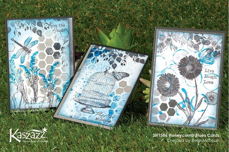 2H1586 Honeycomb Blues Cards