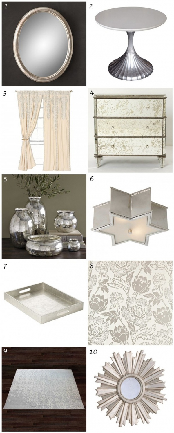 Silver #decor #inspiration. Highlights include: the floral wallpaper and mini starburst mirror from Ethan Allen.