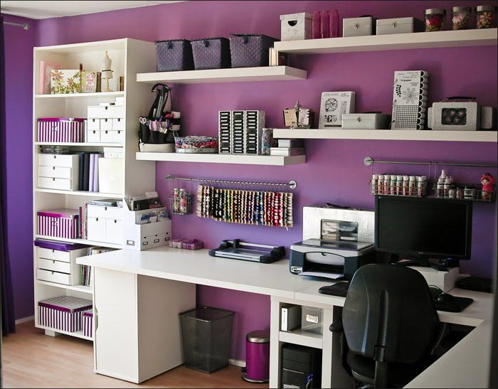 Gorgeous Purple, black and white craft room with white Bookshelves and  storage shelves. #scrap room