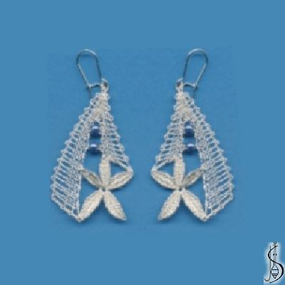 Earring No. 10949     Silver and grayish blue beads. Price: € 17 Other color variations are in the catalog.  ............................  Protected by copyright!