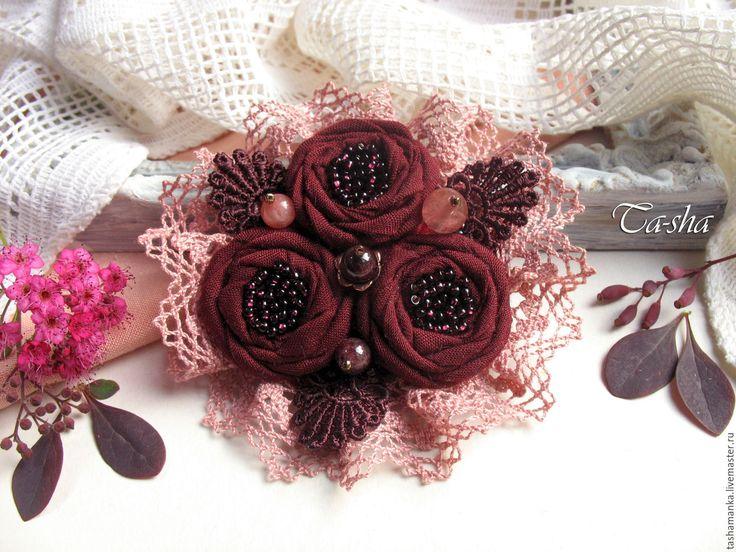"""Купить """"Бордовая роза"""" бохо брошь цветок вишневый букет - брошь, брошь натуральные камни"""
