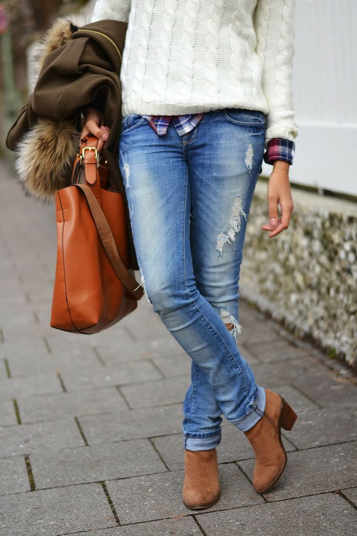 Sweater, jeans, and booties
