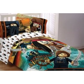 Lego Pirates Caribbean Ships Away 4pc Twin Bedding Set :           Twin/single size comforter, flat sheet, fitted sheet, and one pillowcase. One twin size comforter 60 x 80 inch (152 x 203 cm).; One twin flat bed sheet, finished size 66 x 96 inches (168 x 244 cm); One twin fitted sheet. Both of the above sheets fit a standard twin mattres...  **Read more Details : http://gethotprice.com/appin/?t=B007QMY6MS