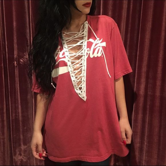 Vintage Coca-Cola lace up T-shirt One-of-a-kind! Just like the ones from LF LF Tops Tees - Short Sleeve