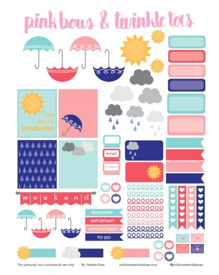 FREE Erin Condren LifePlanner sticker printable - Spring Showers Rainy Day Weather - vertical planner printable