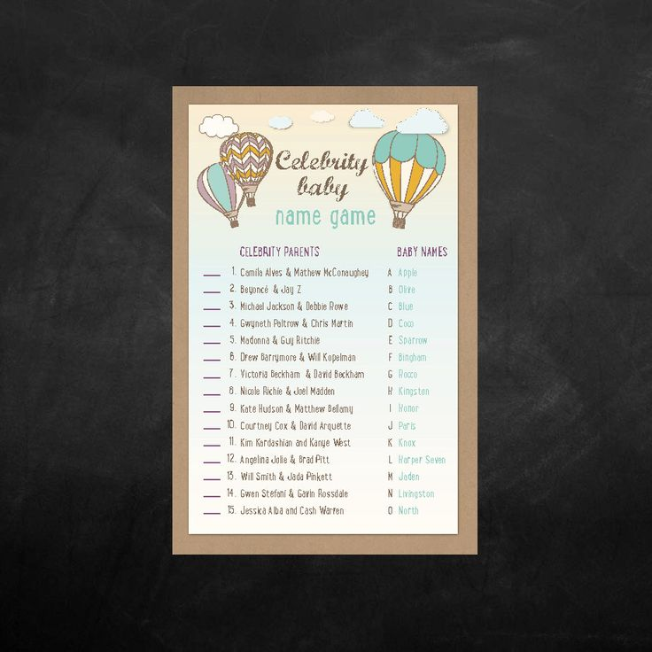 Instant Download - Baby Shower Celebrity Name Game - Air Balloon - Name Game - Print at Home 2 Sheets per a 8.5 x11 by BlissfulPrints on Etsy https://www.etsy.com/listing/220456458/instant-download-baby-shower-celebrity