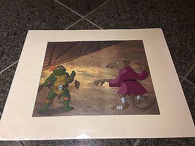 ANIMATION CEL TEENAGE MUTANT NINJA TURTLES CARTOON 1990's Splinter Michaelangelo