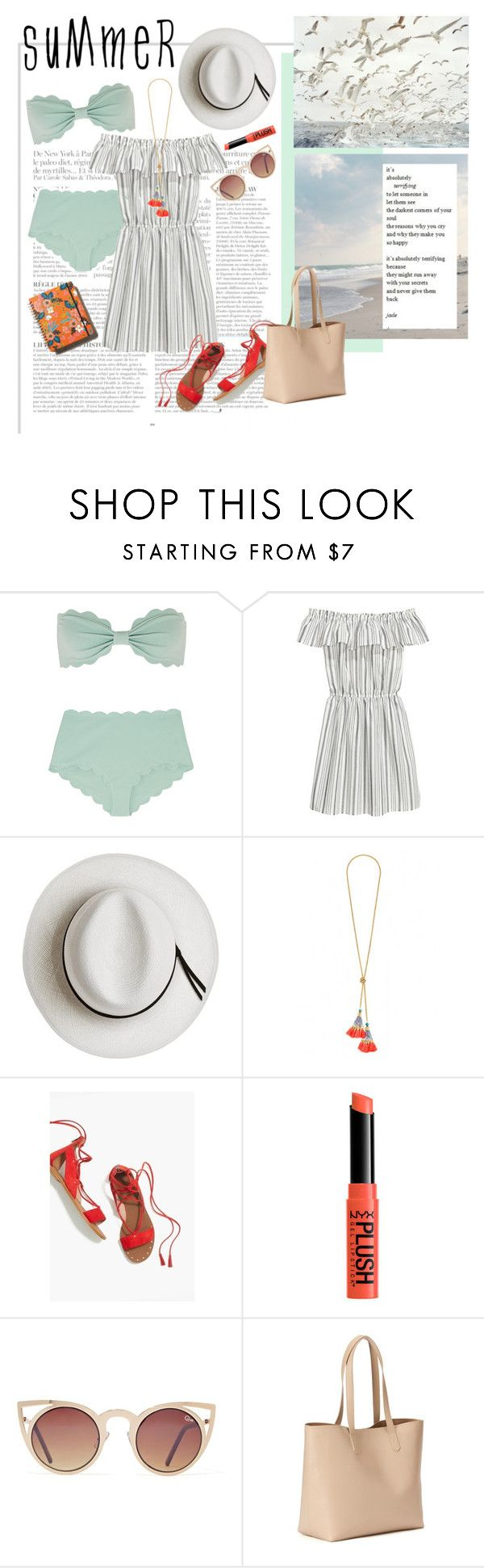"""sommartid"" by emyemoemu ❤ liked on Polyvore featuring Anja, Marysia Swim, Calypso Private Label, Madewell, Quay, Old Navy and Rifle Paper Co"