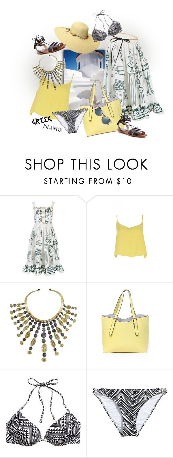 """""""Pack and Go: Greek Islands"""" by ysmn-pan ❤ liked on Polyvore featuring Dolce&Gabbana, H&M, French Connection, contest, Packandgo and greekislands"""