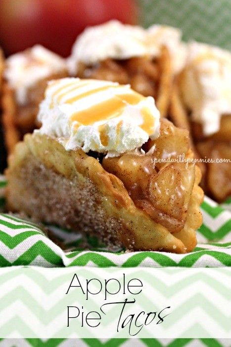 Cinnamon sugar taco shell stuffed with apple pie filling, whipped cream and caramel drizzle.