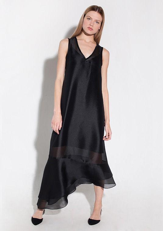 Платье двойное с воланами из органзы. Модель Flounce