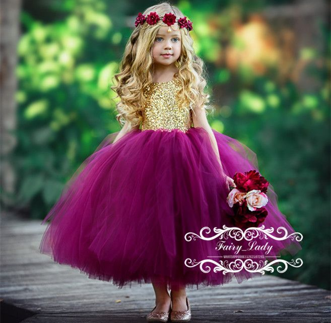 Lovely 2018 Short Puffy Ball Gown Flower Girls Dresses With Ribbon Sash Gold Sequined Top Fuchsia Skirt Open Back Girls Pageant Dress Party