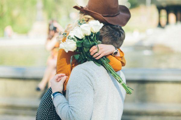 Central Park Proposal, brown hat, mustard yellow sweater, polka dot skirt