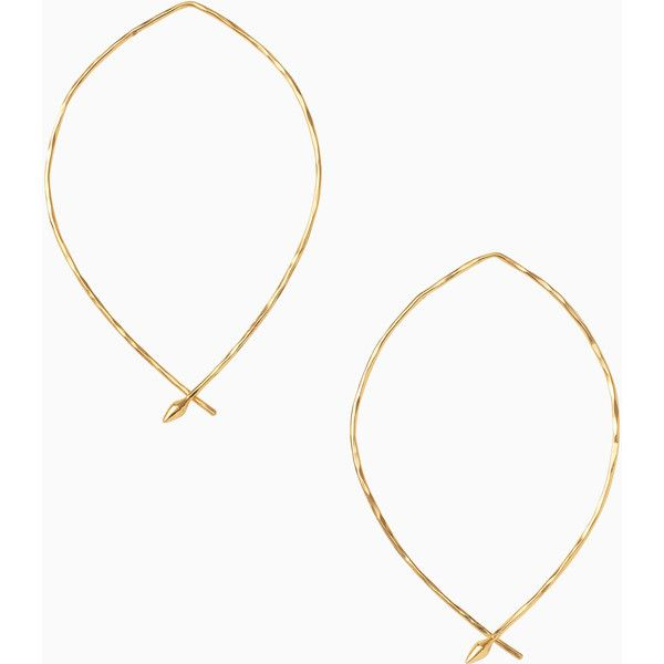 Stella & Dot Hammered Wire Large Hoops (58 CAD) ❤ liked on Polyvore featuring jewelry and earrings