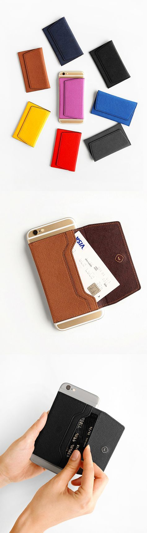 Keep your most used cards on hand with the Leather Sticky Card Case! This ingenious card case comes in 2 sizes and sticks onto the back of your phone or case. It'll come off without leaving any residue and doubles as a phone stand, too! Easily store your ID, credit card, or bus pass when you're on the go with this smart card organizer. Check it out!