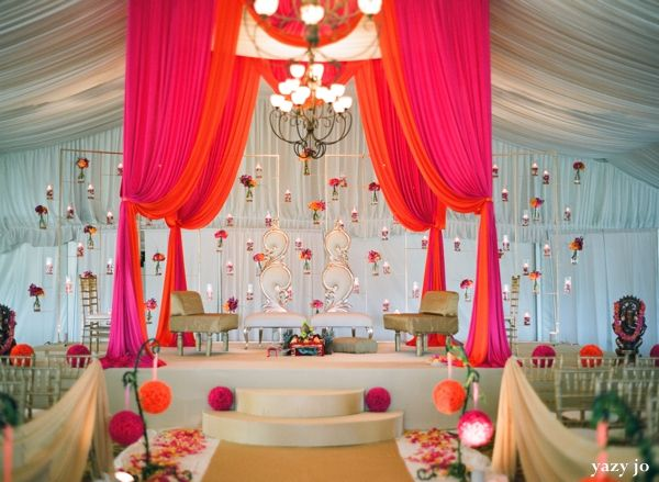 love the mandap floating flowers and candles!